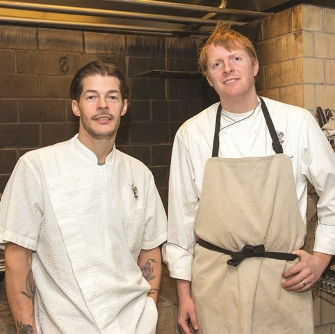 "Executive chef/owner Scott Anderson, left, of elements, and chef de cuisine Michael Ryan have worked together for more than a decade. ""We understand each other,"" Ryan says. (Cathy Miller)"