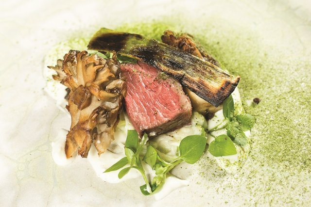 From the tasting menu at elements in Princeton, Wagyu beef accompanied by maitake mushrooms, goat cheese and leeks. (Cathy Miller)