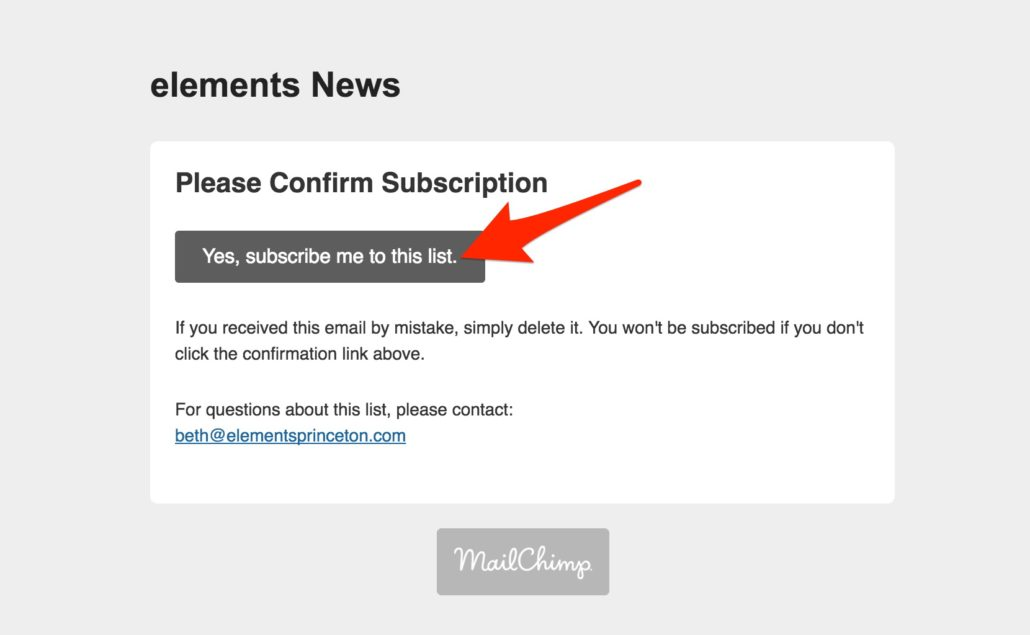 elements email subscription