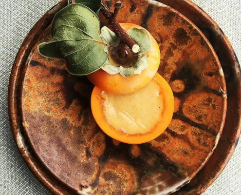Persimmon sorbet with diced persimmon and hazelnut & buckwheat cookies